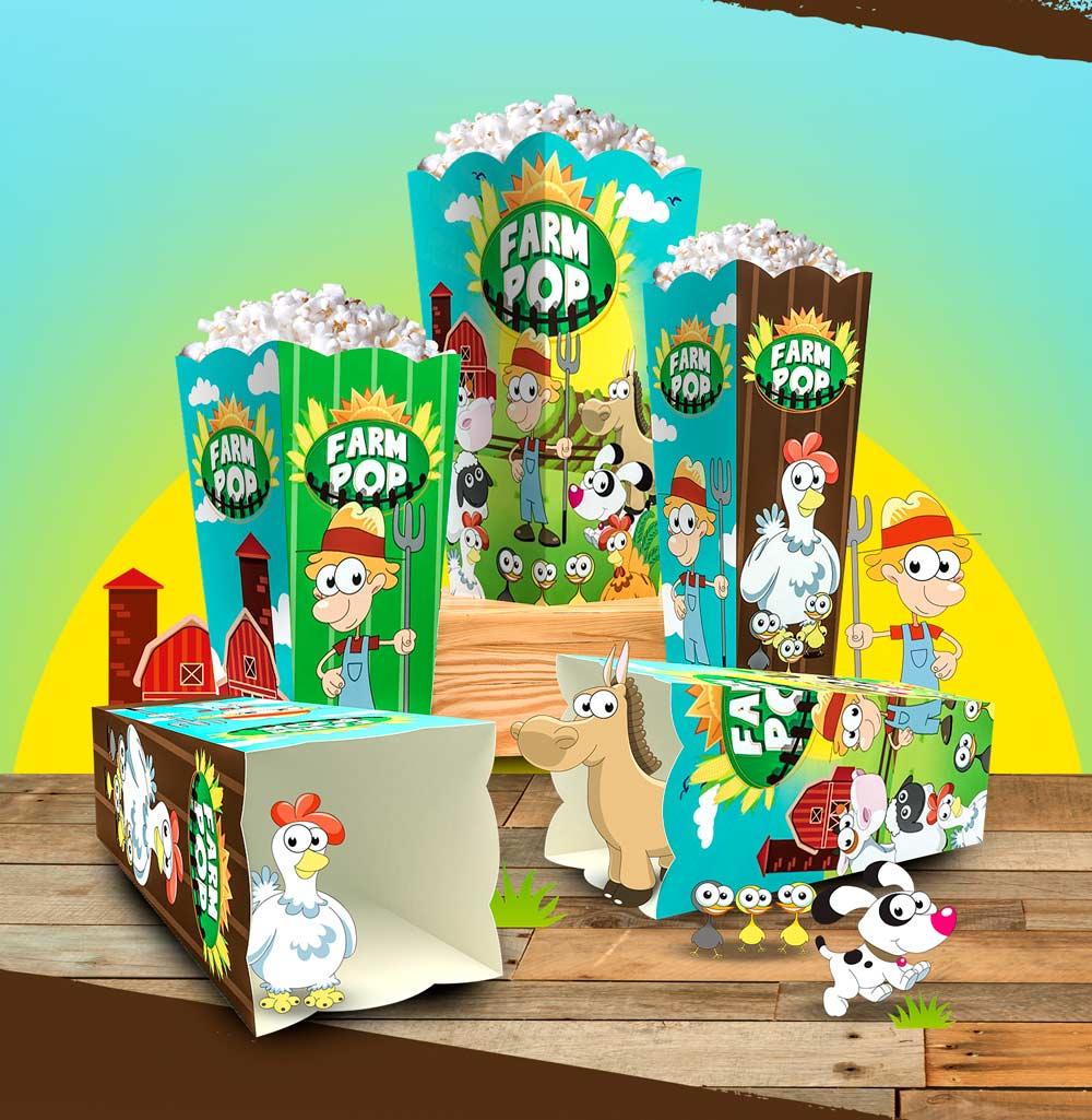 Caixinhas de Pipoca linha Farm Pop